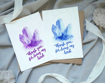 Thank you for being my rock - Watercolor Gem Thank You Card - Custom Calligraphy - Greeting Card