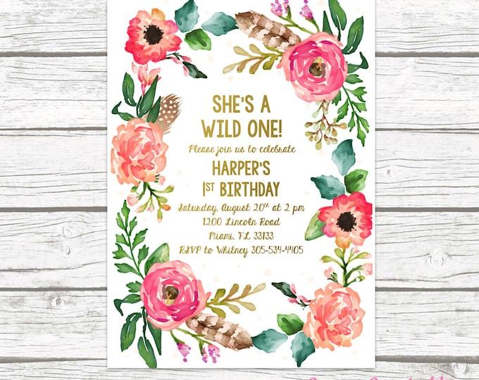 Wild One Birthday Invitation, Girl First 1st Birthday Invitation, Boho Feather Invitation, Floral Wreath Invite, Printable Invitation