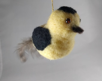 Needle Felted Animal, Feather-tailed Bird Ornament in Yellow and Black