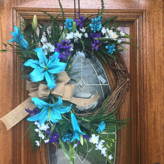 Summer floral wreath for front door unique housewarming gift for Baby shower front door decoration ideas