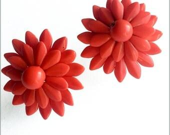 50's West German Red Bead Earrings