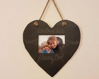 Personalised Hand Engraved Slate Photo Frame - Heart Shaped