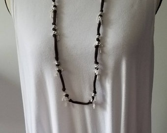 Brown cord necklace with  faux pearls