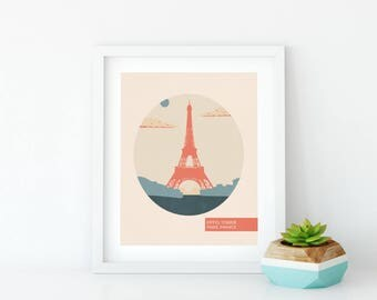 Paris Theme Decor - Digital World Travel - Eiffel Tower Print - Art Print - Gift For Traveller - Minimalist Poster - Romantic Wall Art