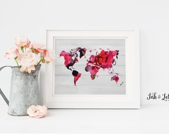 World Map Print  -Printable Wall Art - Cottage Chic Wall Art - Watercolor Roses - Watercolor Wall Decor - Instant Download - Floral - 8x10