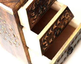 Wooden Jewelry Chest, Treasure Box, Handcarved Display Box, Home Decor Gift Ideas, Free Shipping To US, Gift For Boyfriend, Feng Shui Chest