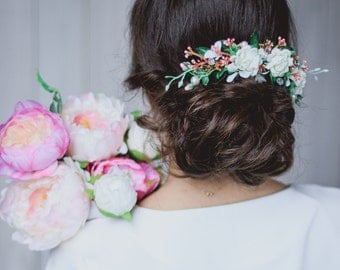 Bridal flower comb Ivory Roses comb Floral comb Wedding flower comb White flower comb Bridal hair accessories Flower comb