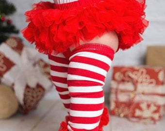 Cotton Baby Leg Warmer And Chiffon Tuffles - Candycane Red And White Stripes With Red Ruffle