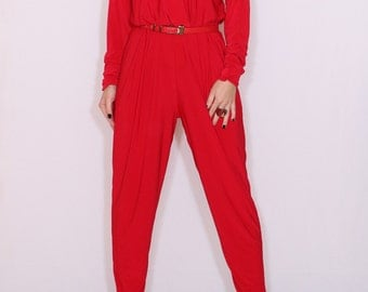 Red jumpsuit Long sleeve jumpsuit Batwing jumpsuit