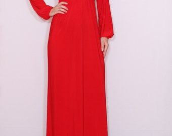 Red maxi dress Long sleeve dress Maxi dress Women