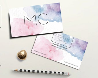 Watercolor business card template / creative business card template / watercolor printable business card / water color calling card