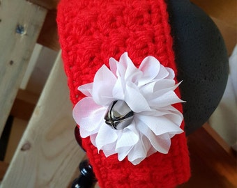 Christmas Headband --Red Headband with White Flower and Jingle Bell -- 6-12 months