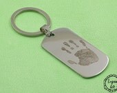 Personalized Custom Handprint ,Handwriting Engrave on Stainless Steel Dog Tag Necklace/Keyring