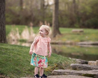Girls Peach Floral Skirt Set, Crop Top, Peasant Top, Baby Skirt, Girls Clothing, Easter, Spring Clothes, Summer Outfit