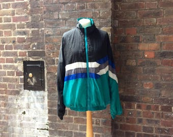 1980s Vintage Windbreaker Jacket | Lightweight Bomber Jacket