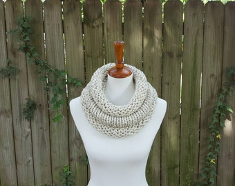 Knit Infinity Scarf, Chunky Knit Scarf, Cowl, Snood, The Birch Cowl, Small - Wheat