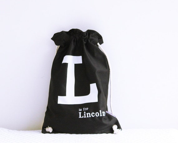 Library bag Black with White letter, Personalised Kids Bag, personalized bag, drawstring bag, childs bag, daycare bag,