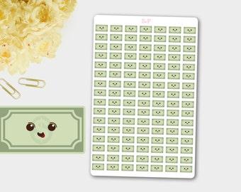 Money Sticker, Money Planner Sticker,Salary Sticker, Banknote Sticker, Kawaii Dollar, Mini Sticker Dollar