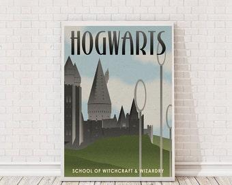 Harry Potter Retro Hogwarts Poster Art Film Poster Movie Poster