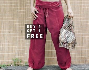 "BUY 2 GET 1 FREE, Unisex Thai Fisherman Pants, Casual Summer Cotton Loose Yoga Pants, Maternity Pants in Red, Length 40"", P02"