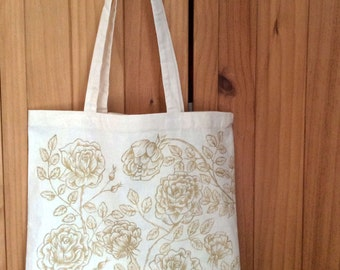 Gold rose canvas tote bag
