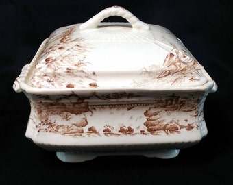 CLEARANCE - Antique 1880's JH Davis Staffordshire Tureen w/ Cover Cascade Brown Transferware - 50% OFF