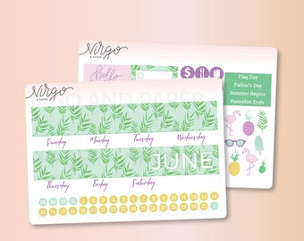 June 2017 Monthly Cover -  June Monthly Sticker Kit - June Monthly Cover Glossy Stickers 1706