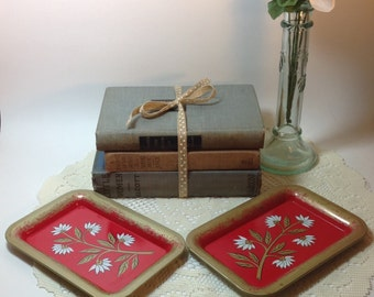 Trays Vintage Chippy Trays Small Metal Mini Trays Decorative Accent Vignette