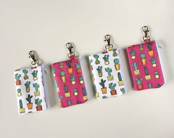 ID Card Wallet Keychain, Small Cacti Coin Pouch, Mini Cactus Zipper Pouch, School ID Holder, Keychain Wallet, Metro Card Holder