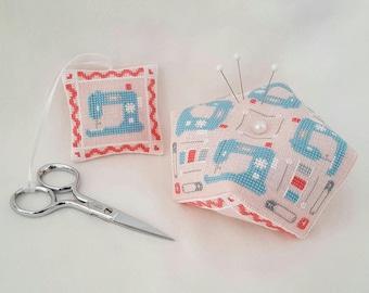 Vintage Sewing Machine Biscornu and Scissor Fob cross stitch - pattern only
