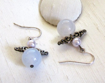 Angel Earrings ~ Light Powder Blue Chalcedony and Pearl Angels with Sterling Silver Shepherd Hook Earwires