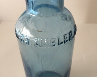 Antique blue bottle, circa 1890, medicine bottle embossed with Keasbey and Mattison co.  Ambler, PA.