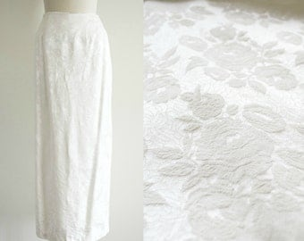 vintage off white long party pencil skirt . 1980s floral jaquard maxi party skirt . medium