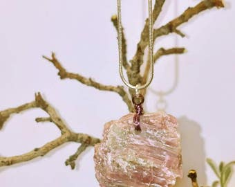 Raw pink Kyanite necklace
