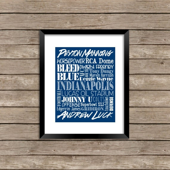 Indianapolis colts word collage 8x10 art print home decor for Colts bedroom ideas