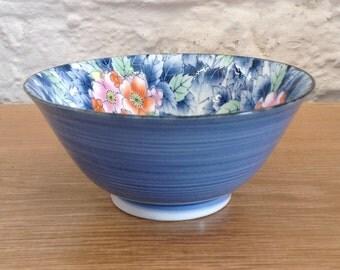Vintage Blue Ceramic Floral Printed Glazed Bowl. Very pretty Dish.