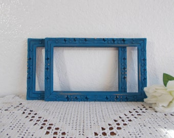 Aqua Turquiose Picture Frame 5 x 9 Photo Decoration Rustic Shabby Chic Distressed Up Cycled Vintage Wood Man Cave Home Decor Gift