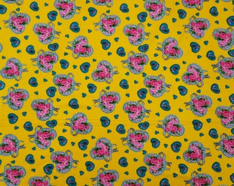 """Home Decor Cotton Fabric, Heart Print, Yellow Fabric, Dress Material, Sewing Fabric, 41"""" Inches Designer Fabric By The Yard ZBC7072A"""