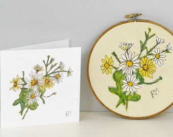 Daisies Embroidered in Hoop with Matching Card