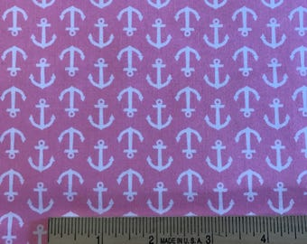 White Anchors on Pink Background, Inspirations Screen Print by Waverly, 100% Cotton