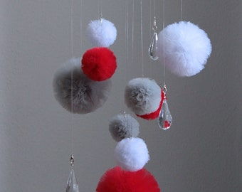 Baby Mobile Hangings, Crystal Mobile, Red Nursery Mobile, Crib Mobile, Pom Pom Mobile, Baby Mobile, Red Nursery Decor, Pom Pom Nursery Decor