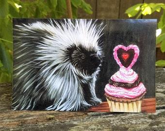 Snarky, Sarcastic, Naughty Card, Funny Prick Message for him, Unique Original Art, Birthday / Valentine, Woodland Animal Porcupine / Cupcake