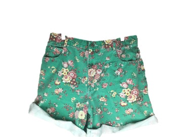 Vintage Green Floral Shorts | 90s Denim Shorts | 1990s Floral Jean Shorts | Green Floral Cuffed Shorts | High Waist Jean Shorts M L