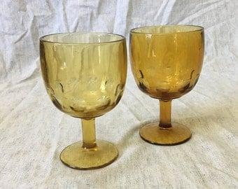 Vintage Amber Glass Thumbprint Goblets, Set of 2