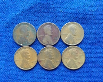 1924-29 Lincoln Wheat Pennies US Coins Old Coins American Coins Set 6