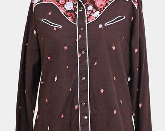 vintage brown floral 70s blouse. kenny rogers 70s western shirt - brown pink red white - cotton - uk14 uk16 size 14 16 large l xl - rose