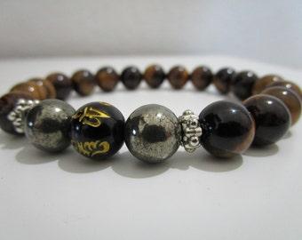 Mantra bracelet, Natural stone bracelet, mens stone bracelet, Mens jewelry, Yoga, Yoga bracelet, Gift, Gift for men, Meditation bracelet