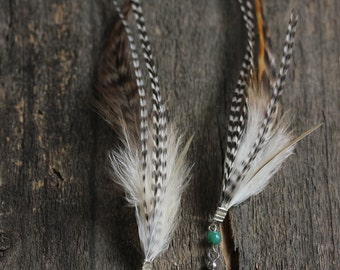 Ultra Long Feathers Earrings - Boho Feathers Earrings - Turquoise Beads - Green Agate Earrings - Natural Rooster Feathers - Tribal Earrings