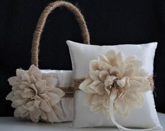 Rustic wedding Flower Girl Basket / Rustic Ring Bearer Pillow / Burlap Flower Basket / Burlap Ring Pillow / Rustic Wedding Basket Pillow Set