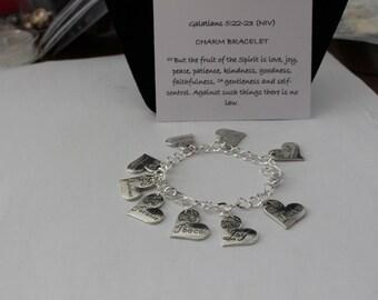 Fruits of the Spirit charm bracelet, Tibetan silver. Christian Inspirational Bible verse jewelry